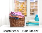 brown laundry basket with... | Shutterstock . vector #1005636529