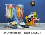 messy dressing room interior... | Shutterstock . vector #1005636574