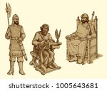 portrait of noble great bearded ...   Shutterstock .eps vector #1005643681