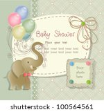 Stock vector baby shower with scrapbook elements in retro style 100564561