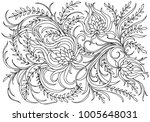 Stock photo background with flowers and plants black and white doodleillustration coloring book for adult and 1005648031