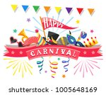 happy carnival. greeting card... | Shutterstock .eps vector #1005648169