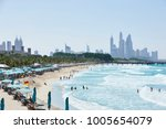 view on jumeirah beach with in... | Shutterstock . vector #1005654079