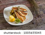 fish trout. portion smoked... | Shutterstock . vector #1005655045