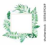 tropical green floral frame... | Shutterstock . vector #1005659269