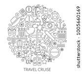 travel cruise thin line ... | Shutterstock . vector #1005660169