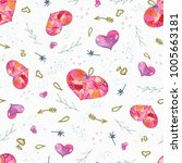 seamless valentine pattern with ... | Shutterstock . vector #1005663181