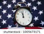 Small photo of Government Shutdown, Alarm Clock and American Flag, Low Angle