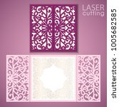 laser cut wedding invitation... | Shutterstock .eps vector #1005682585