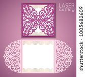 laser cut wedding invitation... | Shutterstock .eps vector #1005682609
