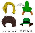 vector cartoon doodle set of...   Shutterstock .eps vector #1005698491