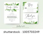 wedding invitation  floral... | Shutterstock .eps vector #1005703249