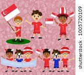 set of boys with national flags ... | Shutterstock .eps vector #1005720109