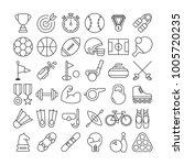 sport equipment icons set   Shutterstock .eps vector #1005720235