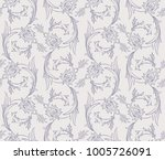 iznik style floral swirl motif... | Shutterstock .eps vector #1005726091