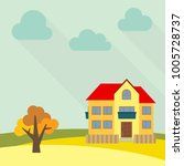 lone two storey house in a... | Shutterstock . vector #1005728737