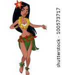 hula dancer girl | Shutterstock . vector #100573717
