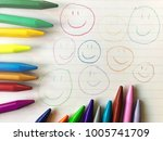 smile faces drawn on the white...   Shutterstock . vector #1005741709