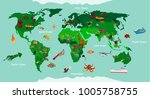 animals world map educational.... | Shutterstock .eps vector #1005758755