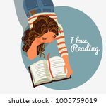 cute girl reads a book   Shutterstock .eps vector #1005759019