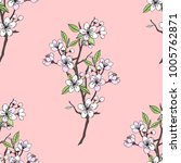 seamless pattern  with sakura.... | Shutterstock .eps vector #1005762871