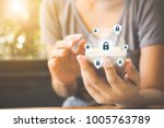 data protection and security...   Shutterstock . vector #1005763789