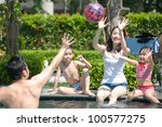 happy asian family playing in... | Shutterstock . vector #100577275