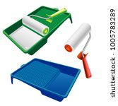 paint roller and paint tray... | Shutterstock .eps vector #1005783289