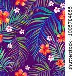 seamless hand drawn tropical... | Shutterstock .eps vector #1005784855