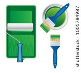 paint roller with paint tray ... | Shutterstock .eps vector #1005784987