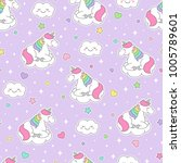 cute pastel unicorn seamless... | Shutterstock .eps vector #1005789601