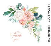 watercolor floral illustration  ... | Shutterstock . vector #1005792154