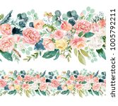 seamless watercolor floral... | Shutterstock . vector #1005792211