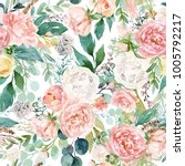 seamless watercolor floral... | Shutterstock . vector #1005792217