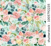 seamless watercolor floral... | Shutterstock . vector #1005792235