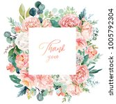 watercolor floral illustration  ... | Shutterstock . vector #1005792304