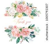 watercolor floral illustration  ... | Shutterstock . vector #1005792307