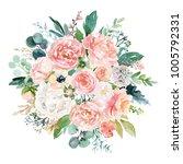 watercolor floral illustration  ... | Shutterstock . vector #1005792331