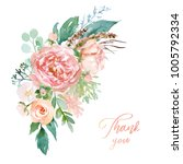watercolor floral illustration  ... | Shutterstock . vector #1005792334