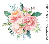 watercolor floral illustration  ... | Shutterstock . vector #1005792361