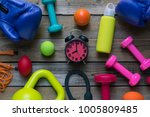 time for exercising clock ... | Shutterstock . vector #1005809485