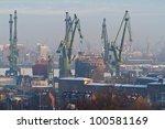 Shipyard in Gdansk at winter - stock photo