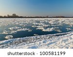 Ice floe flowing on Wisla river at winter - stock photo