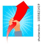 hand holds growing red arrow... | Shutterstock .eps vector #1005821419