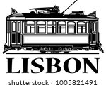 old classic tramway of lisbon   ... | Shutterstock .eps vector #1005821491