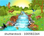Stock vector animals at the water 100582264