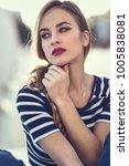 blonde woman  model of fashion  ... | Shutterstock . vector #1005838081
