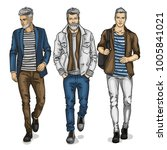 vector young man models | Shutterstock .eps vector #1005841021