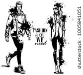 vector woman and man fashion... | Shutterstock .eps vector #1005841051