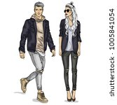 vector woman and man | Shutterstock .eps vector #1005841054